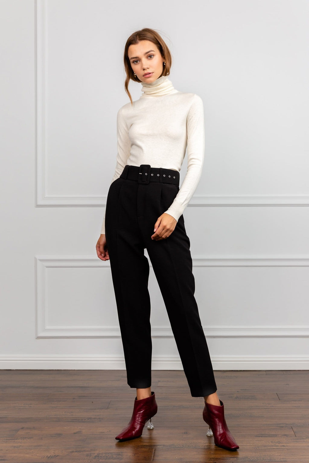 Latte Off-White Turtleneck Top