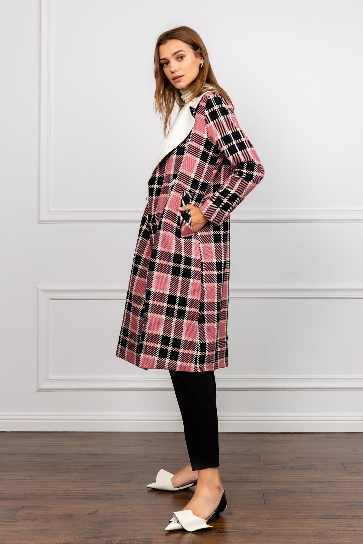 Franny Pink Plaid Coat