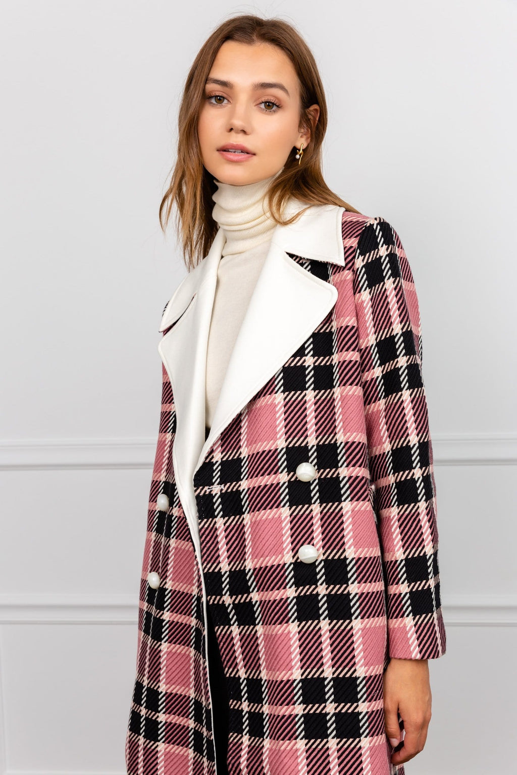 Franny Pink Plaid Coat by J.ING Women's Apparel
