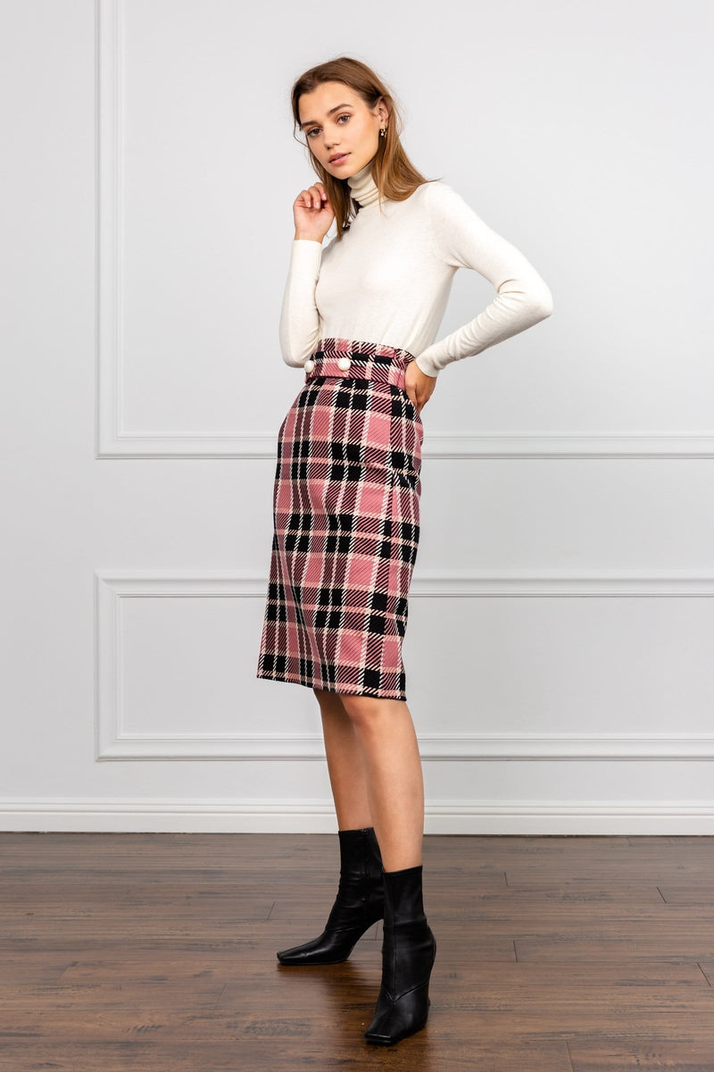 Franny Pink Plaid Midi Skirt