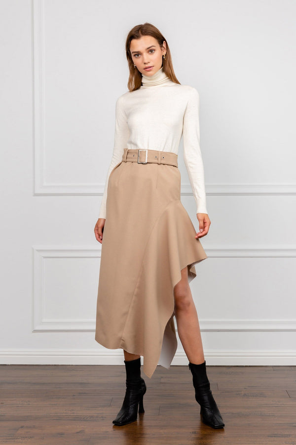 Tan Belted Asymmetrical Midi Skirt | J.ING women's apparel