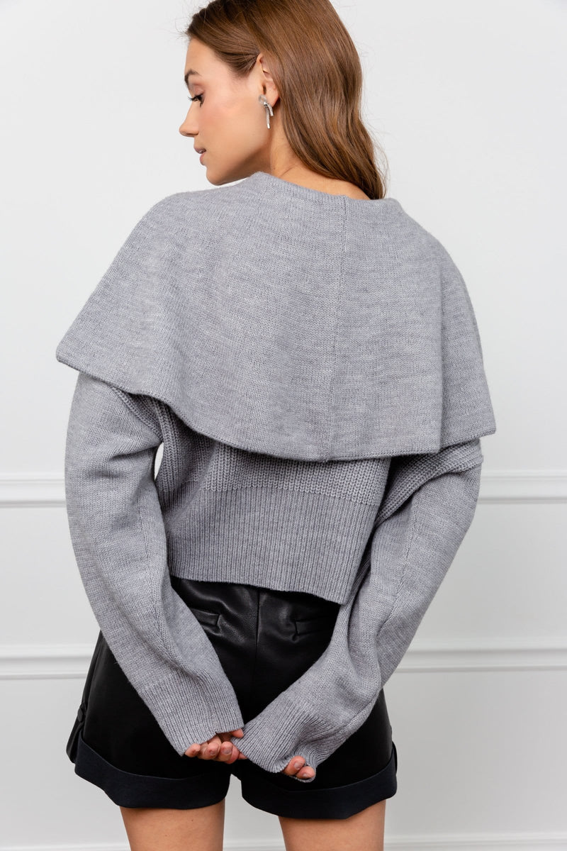 Grey Cape Shoulder Knit Sweater | J.ING Women's Knitwear