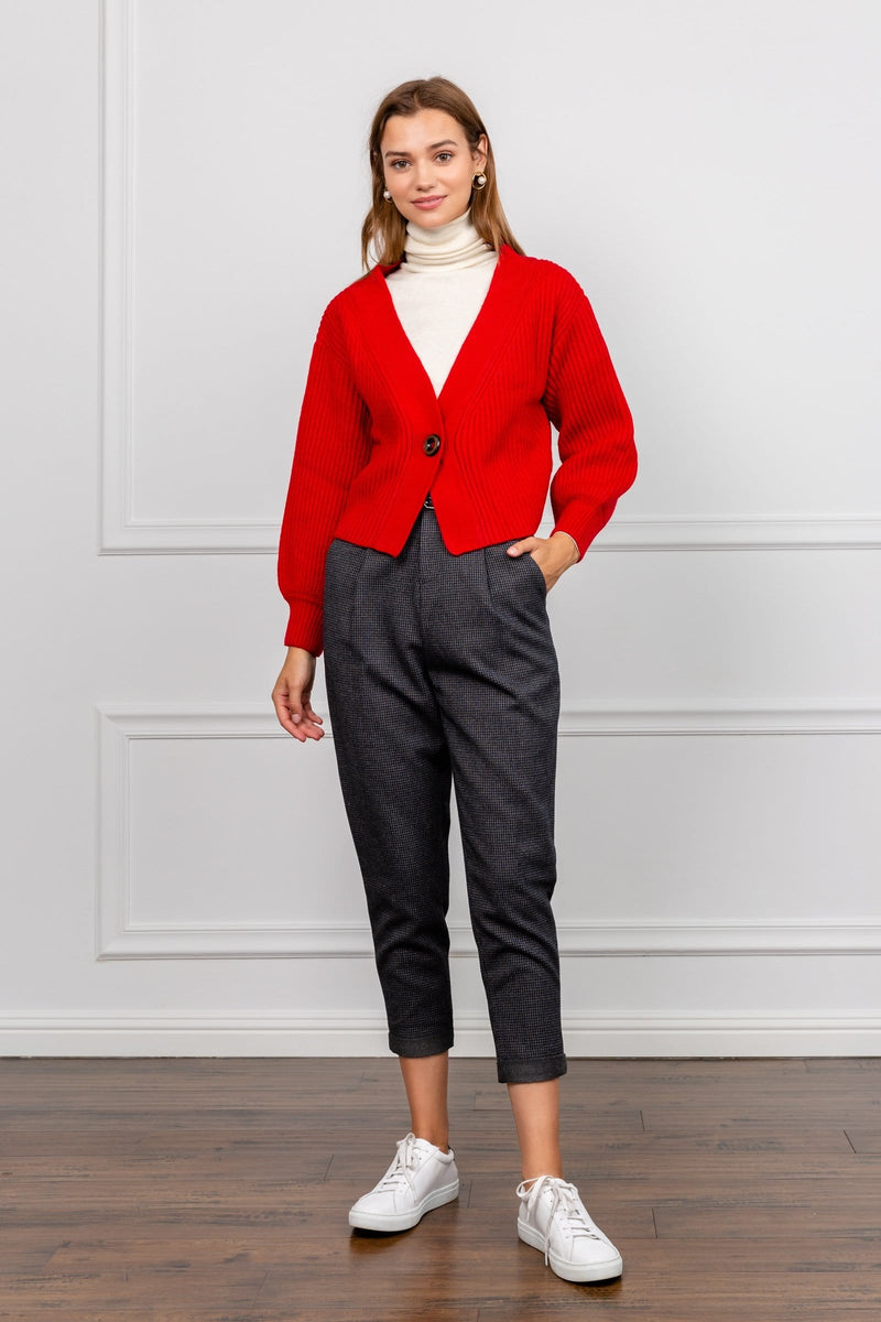 Rosie Red Cropped Cardigan