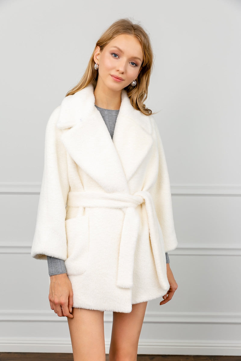 Snow White Plush Wrap Jacket