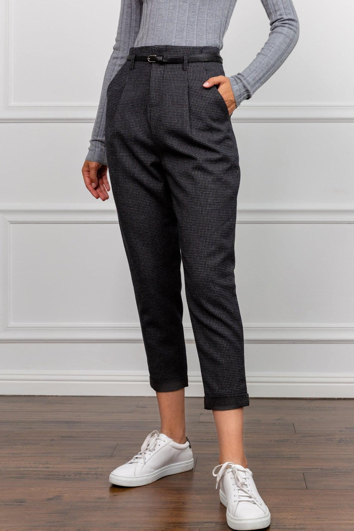 Tessa Tapered Grey Cropped Trousers