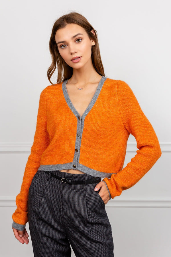 Cropped Orange Cardigan with Grey Trimming | J.ING Women's Knitwear