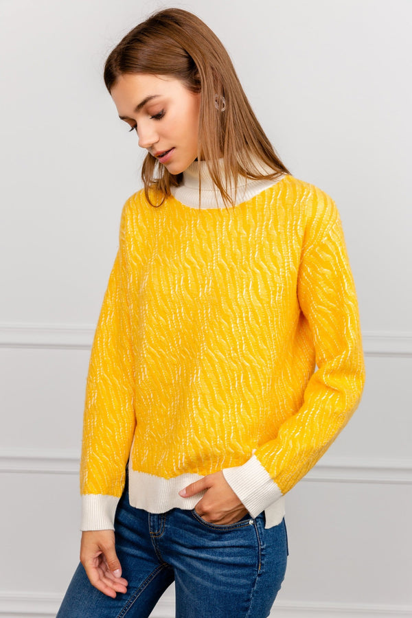 Bright Yellow Turtleneck Knitted Sweater by J.ING women's clothing