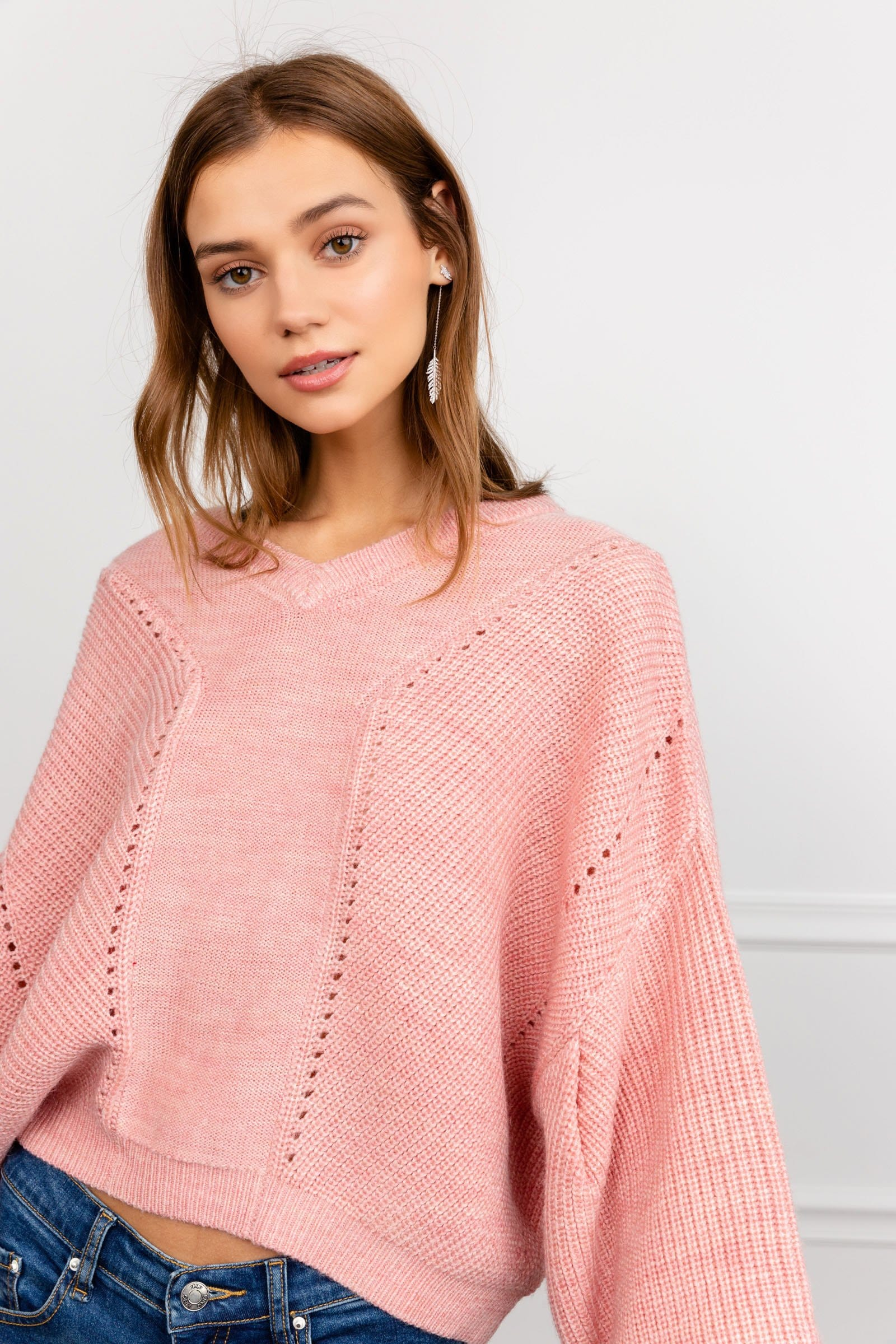 Pink Loose Slouchy Oversize Sweater | J.ING Women's Pink Sweater