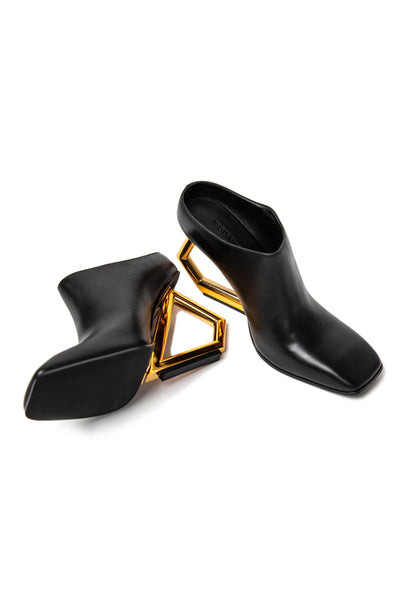 Art Deco Leather Mules by J.ING - an L.A based women's fashion line