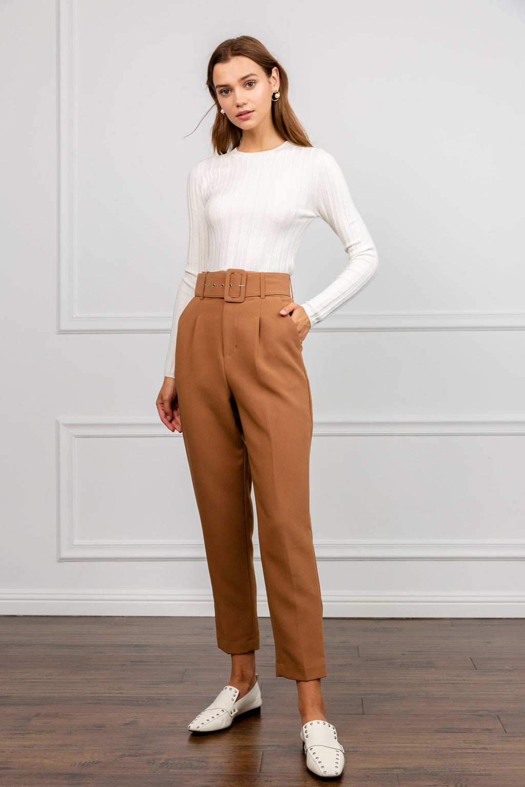 Brown High Waisted Work Pants | J.ING women's work wear