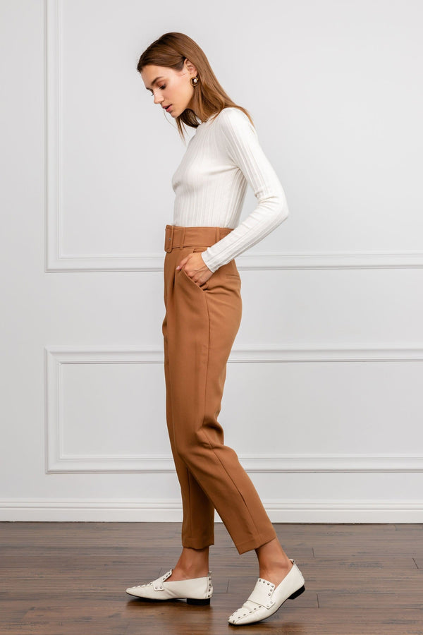Bernie Brown Belted Cropped Trousers