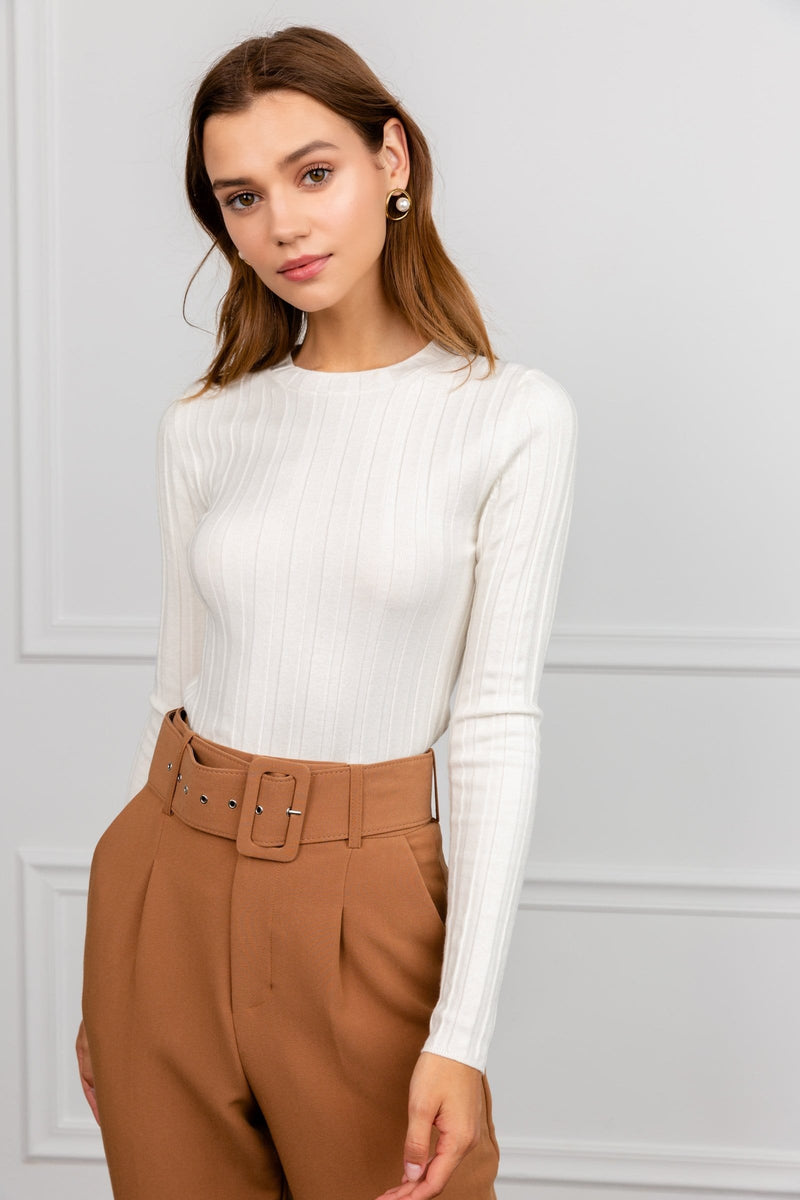 White Long Sleeve Knit Fabric | J.ING Women's Knitwear