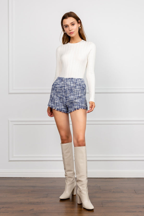 Blue boucle tweed shorts with raw hemlines | J.ING Women's Shorts