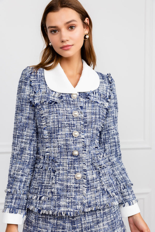 Blue Boucle Tweed Blazer with White Collar & Pearl Buttons | J.ING Women's Jackets & Coats