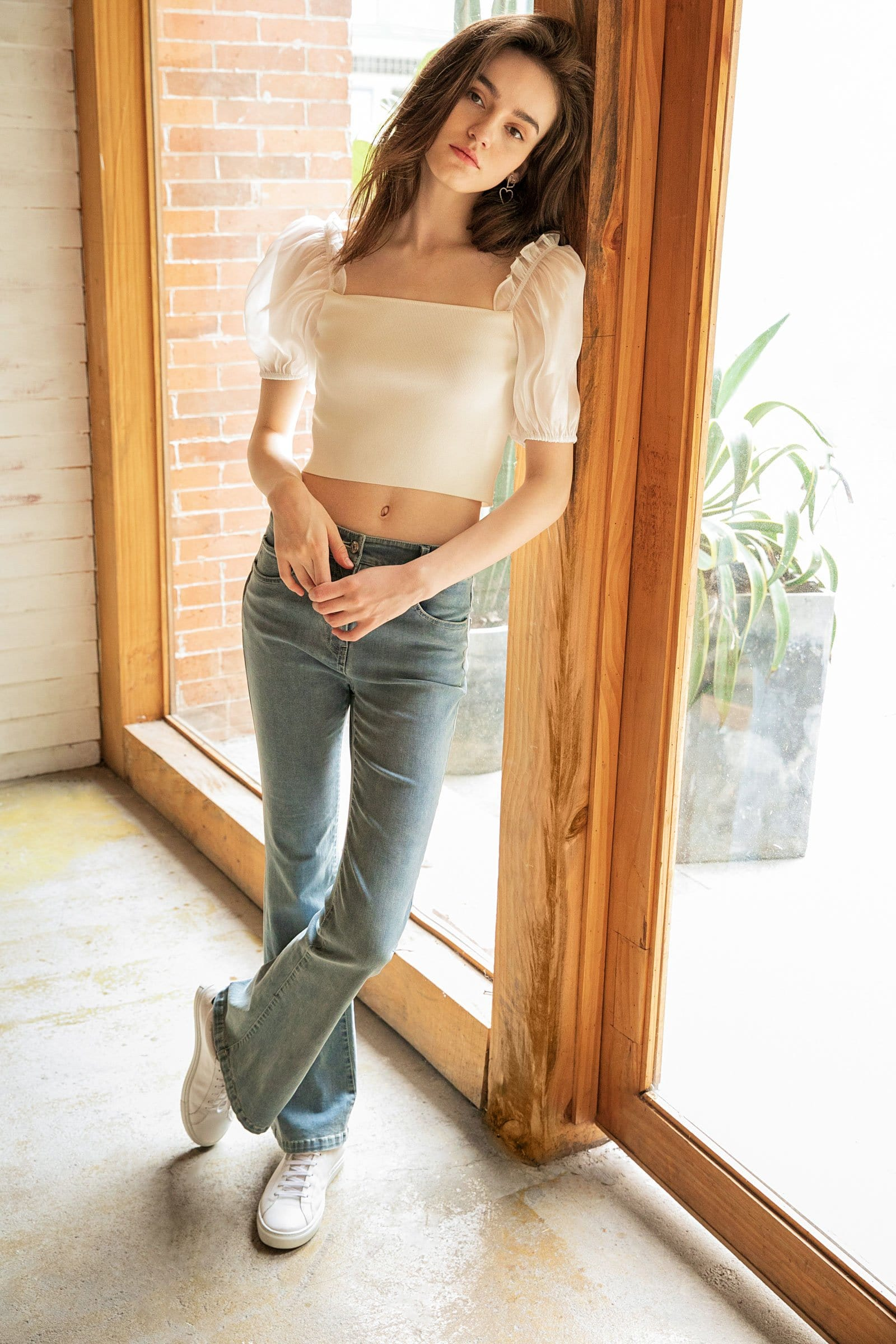 Simone White Puff Sleeve Top