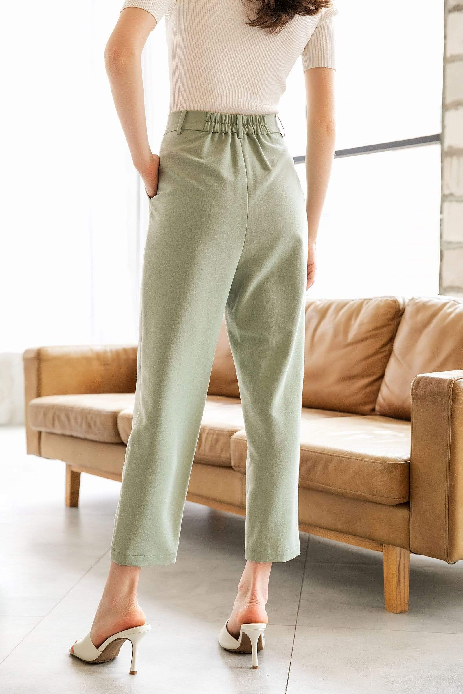 Everly Pistachio Cuffed Trousers