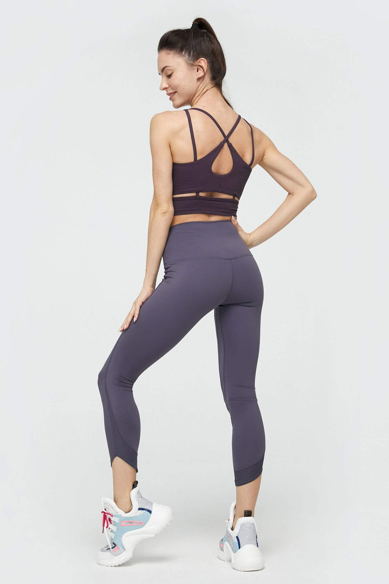 Purple Eggplant Cross Back Bra Top