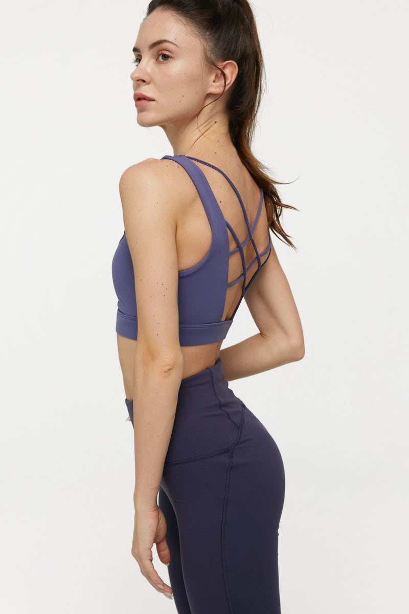 Smoky Violet Crossed Scoop Bra Top