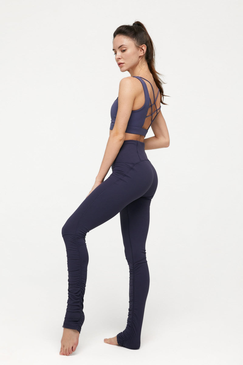 Marine Blue Ruched Leggings