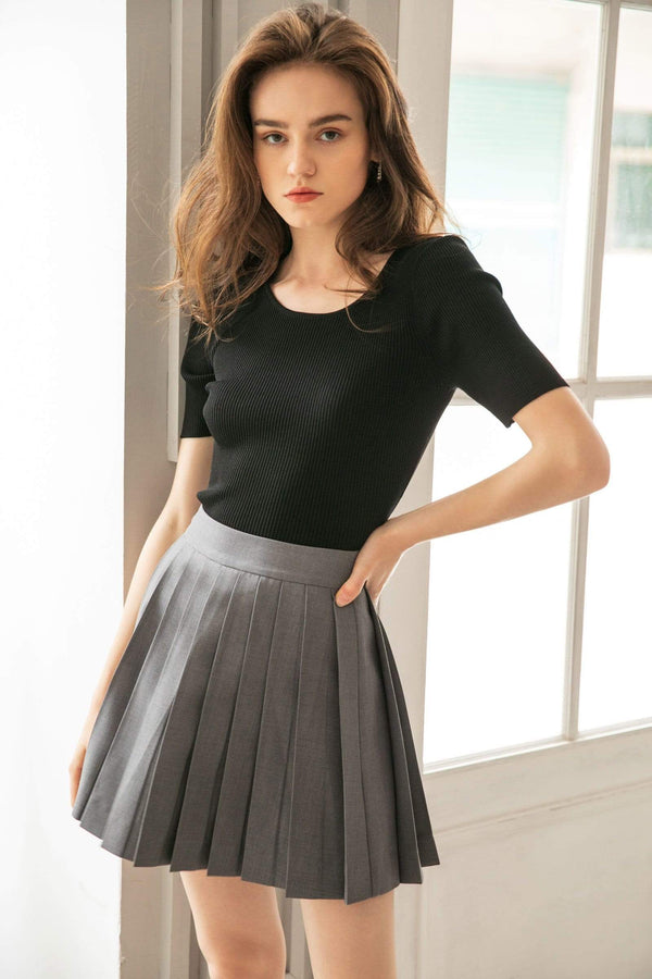 Kensington Charcoal Pleated Skirt