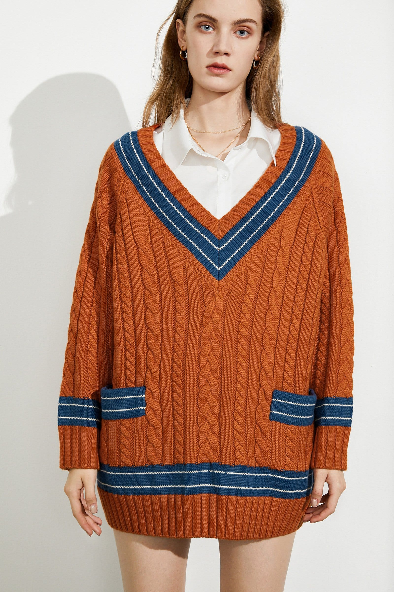 Ollie Colorblock Cable Knit Sweater