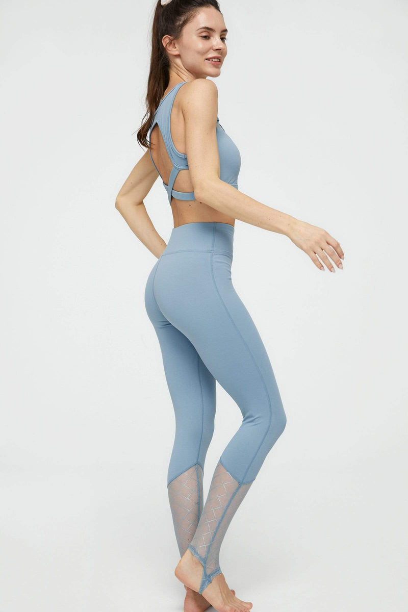 Bright Teal Mesh Yoga Set