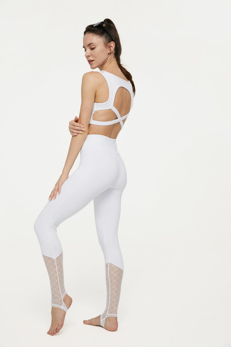 Canyon White Mesh Yoga Set