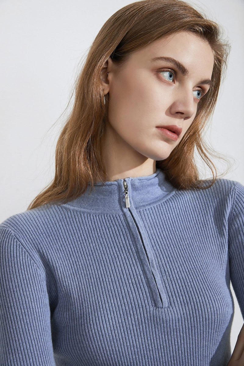 Basic Blue Zip-Up Sweater