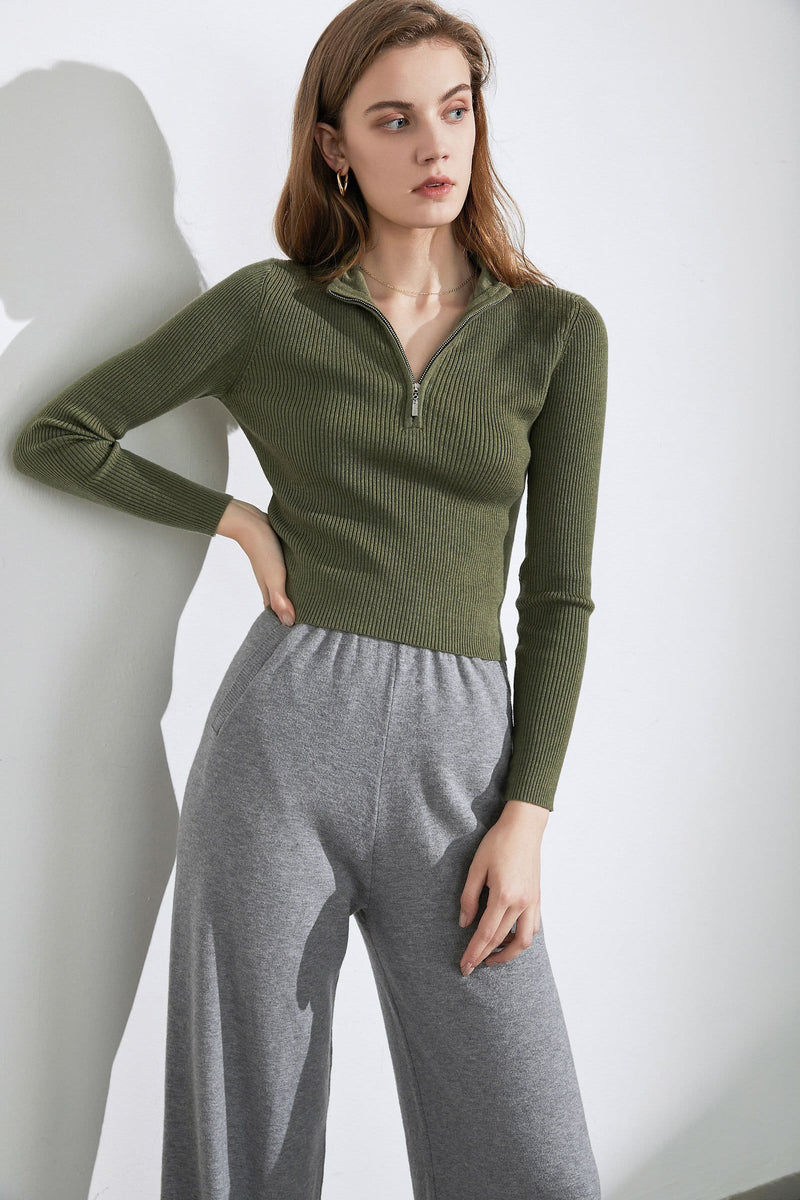 Basic Sage Zip-Up Sweater