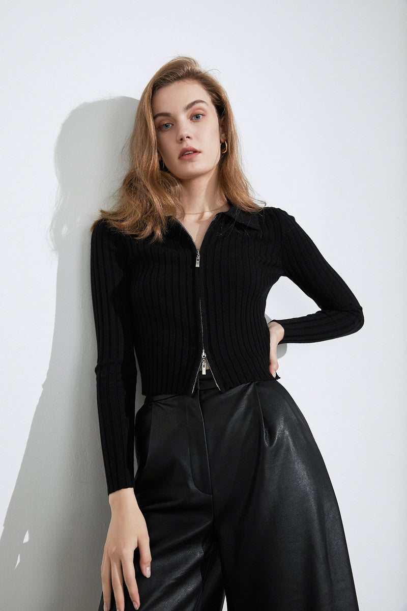Hadley Black Double Zip Cardigan