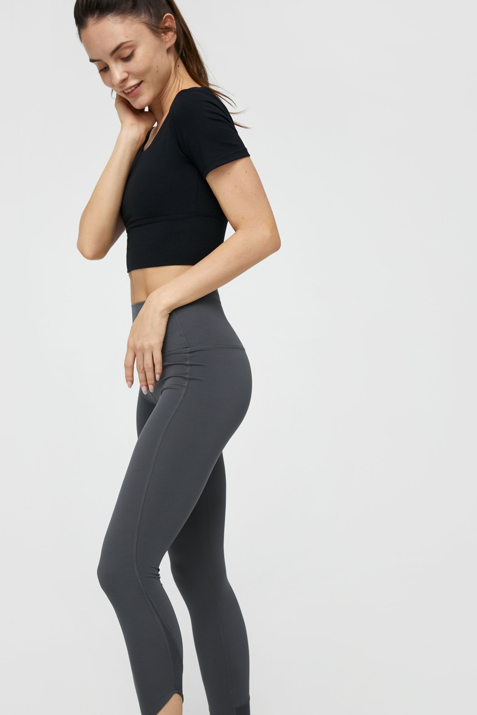 Carbon Black Strappy Back Performance Crop