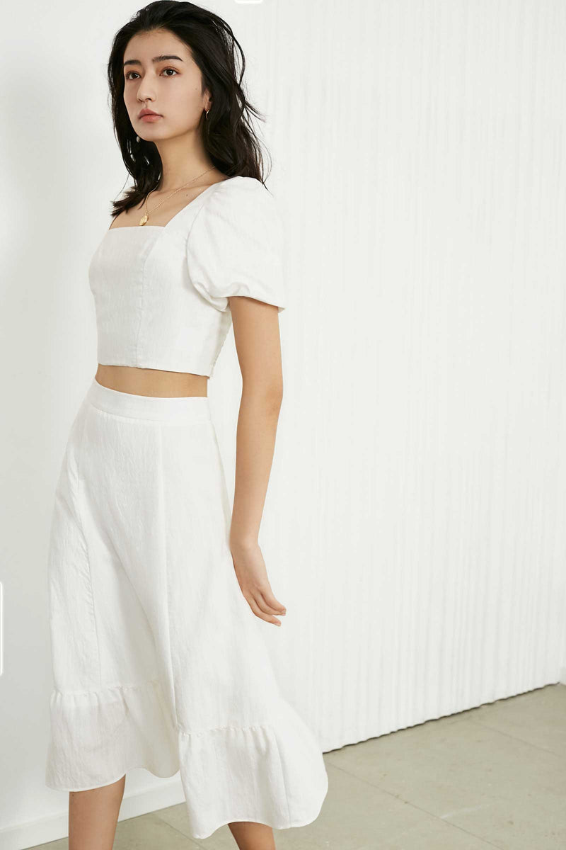 Anibel White Modest Maxi Skirt