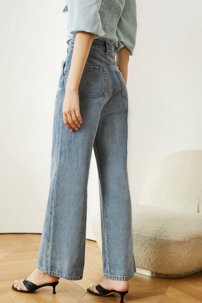 Madison Straight Wide Leg Jeans