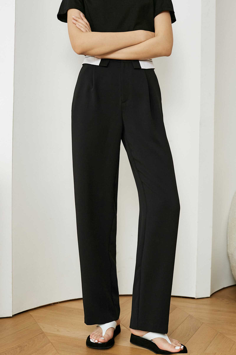 Contrast Waistline Business Pants