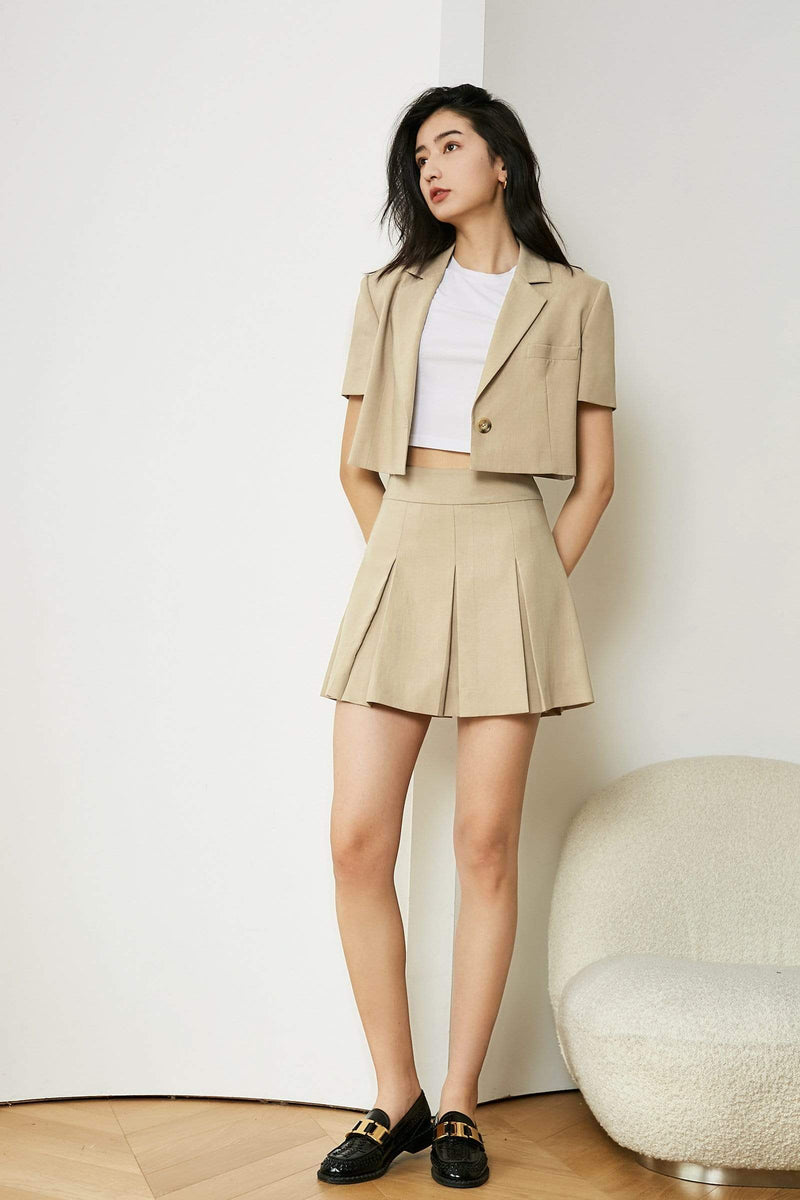 Khaki Fold Mini Skirt