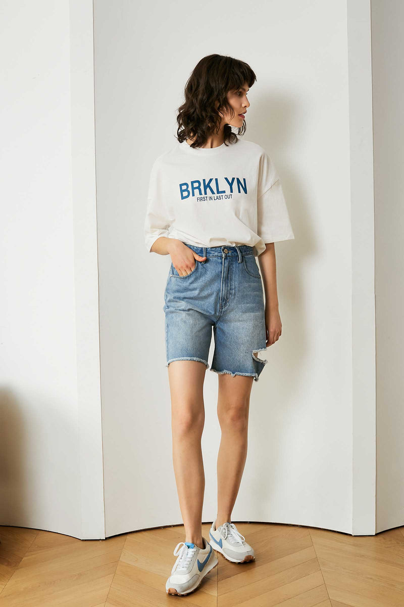 Asymmetrical Distressed Denim Shorts