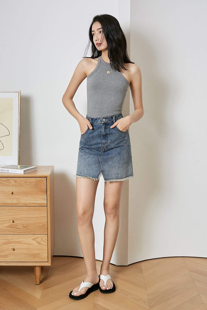 Mini Slit Denim Skirt