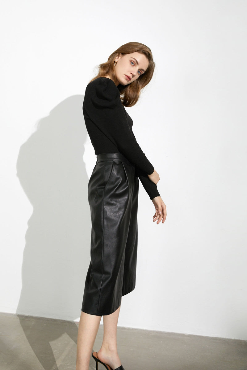 Jerome Black Leather Culottes