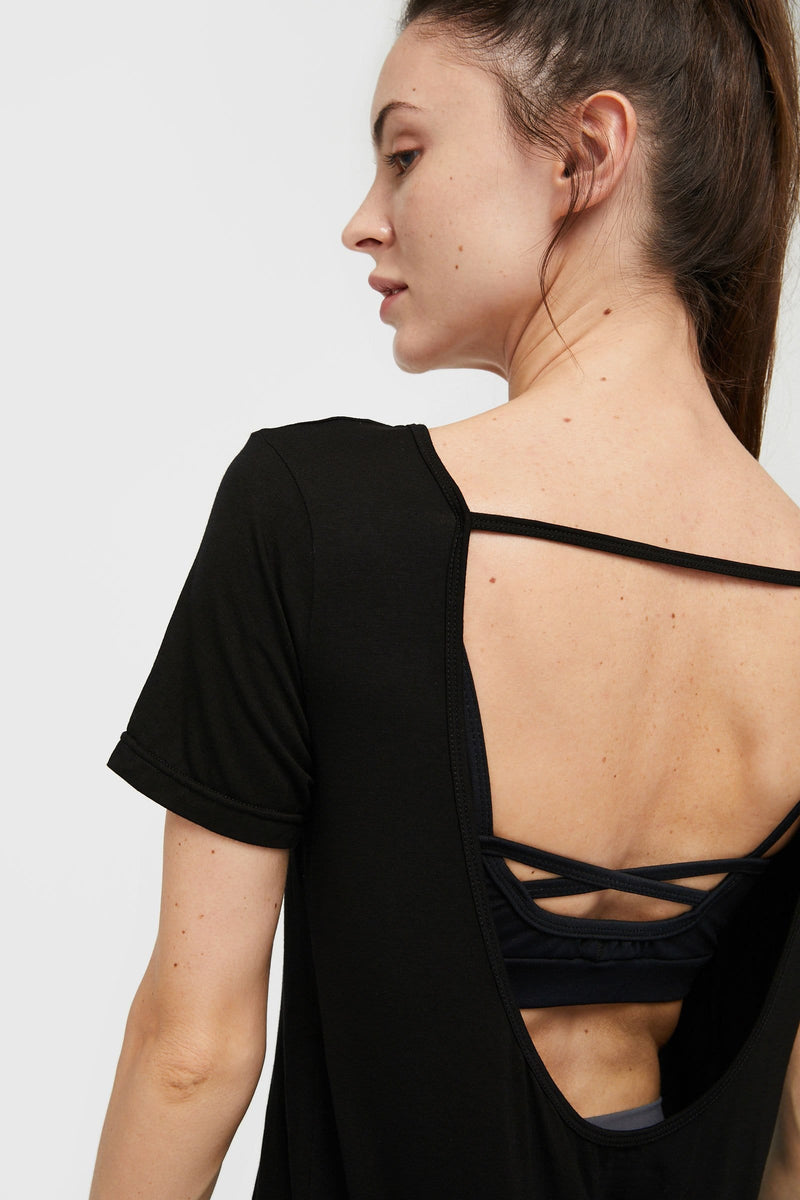 Carbon Black Backless Active Tee