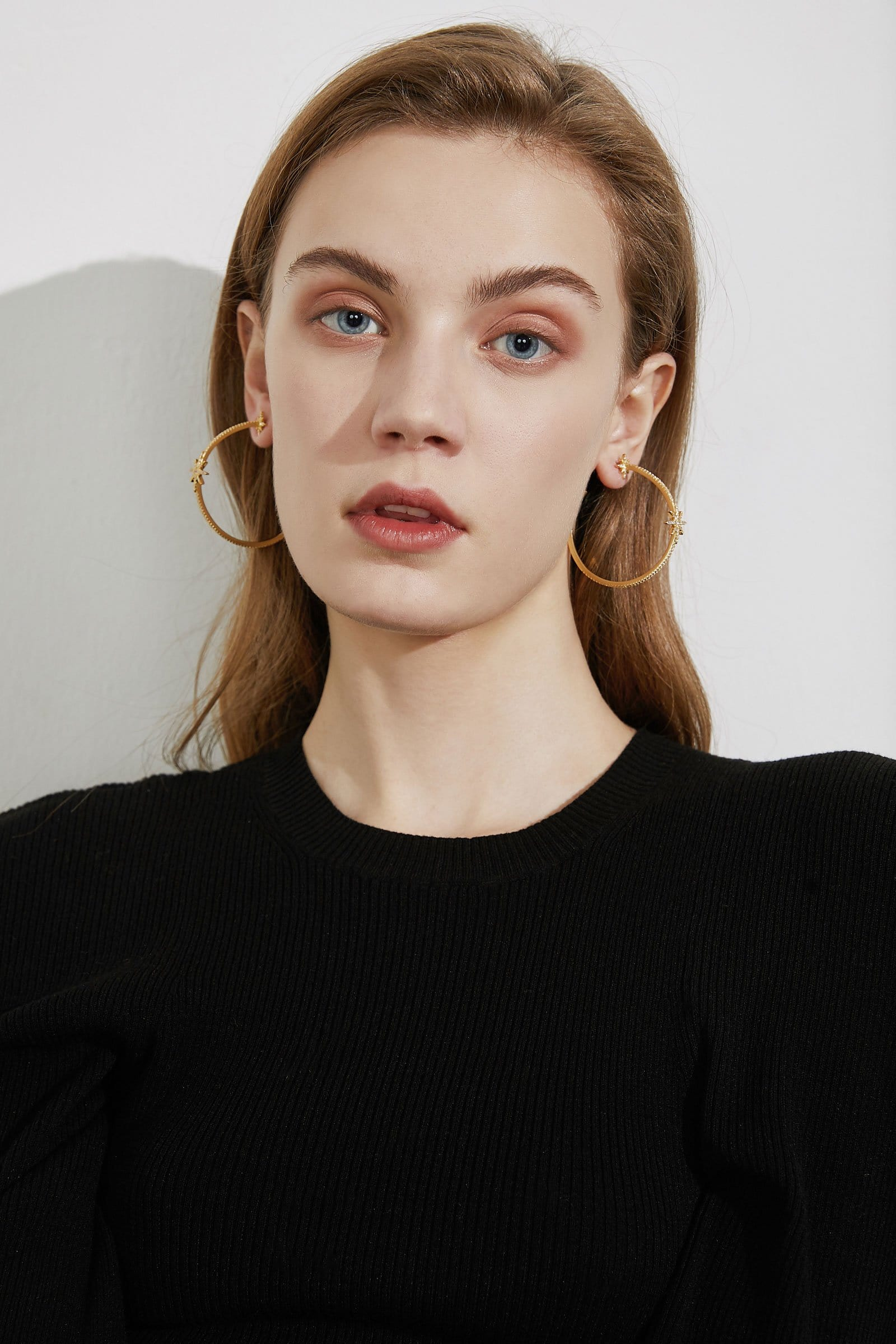 Starry Gold Hoops