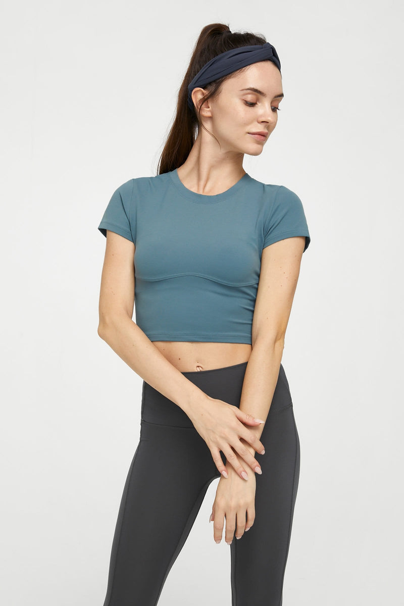 Aqua Blue Round Neck Performance Top