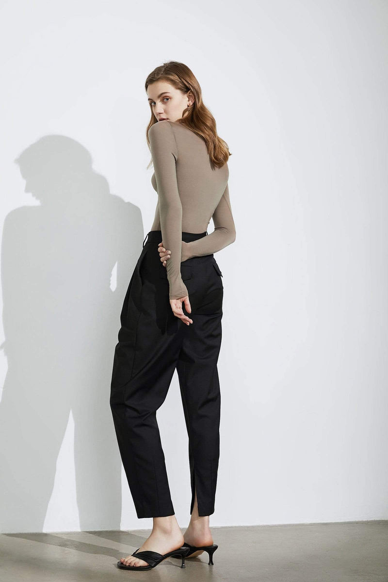 Business Essential Black Zippered Trousers