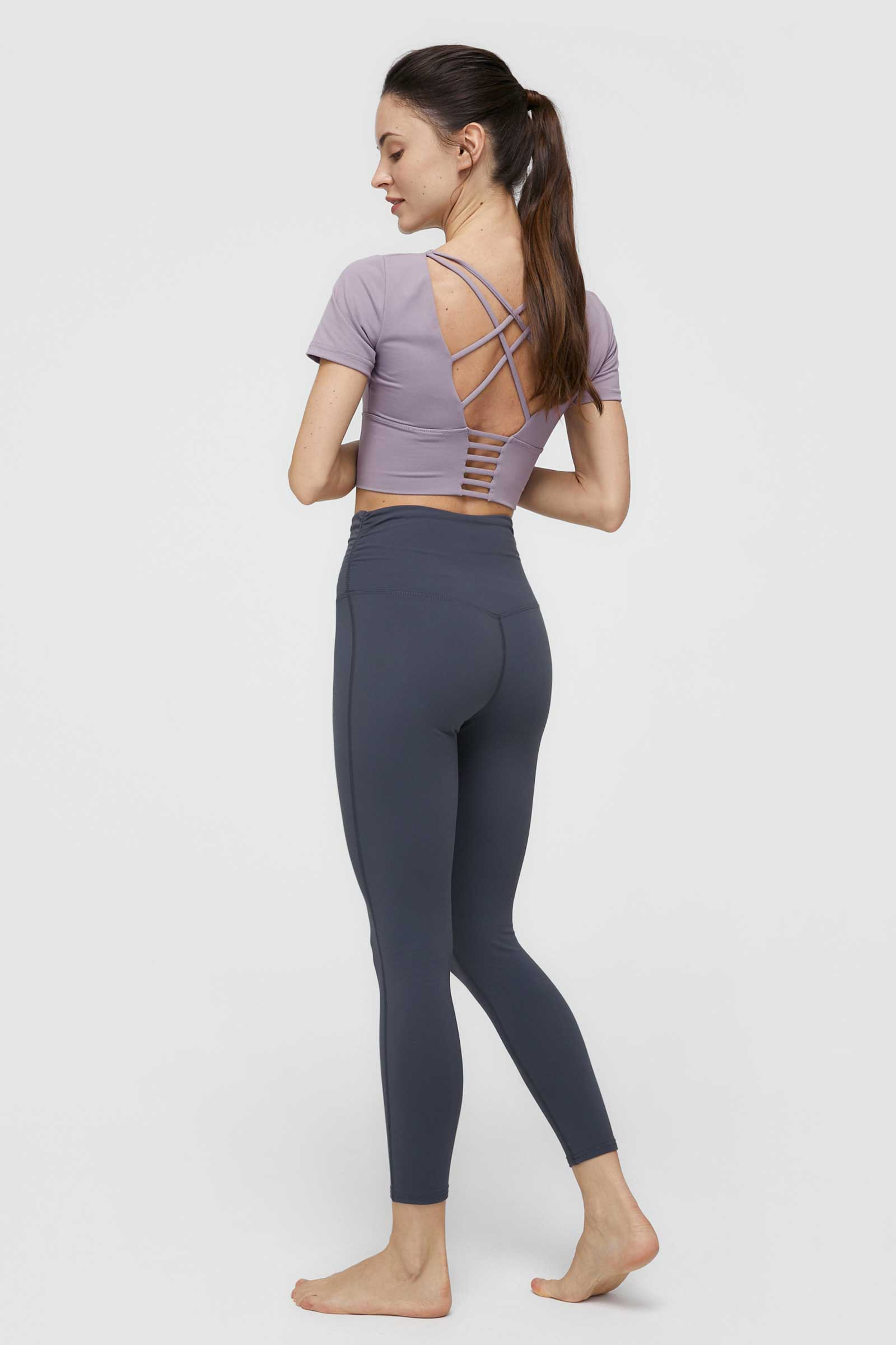 Smoky Violet High-Waist Crossover Legging