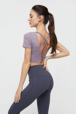 Powdered Violet Strappy Back Performance Crop