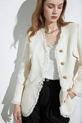 Paloma Ivory Tweed Oversized Jacket
