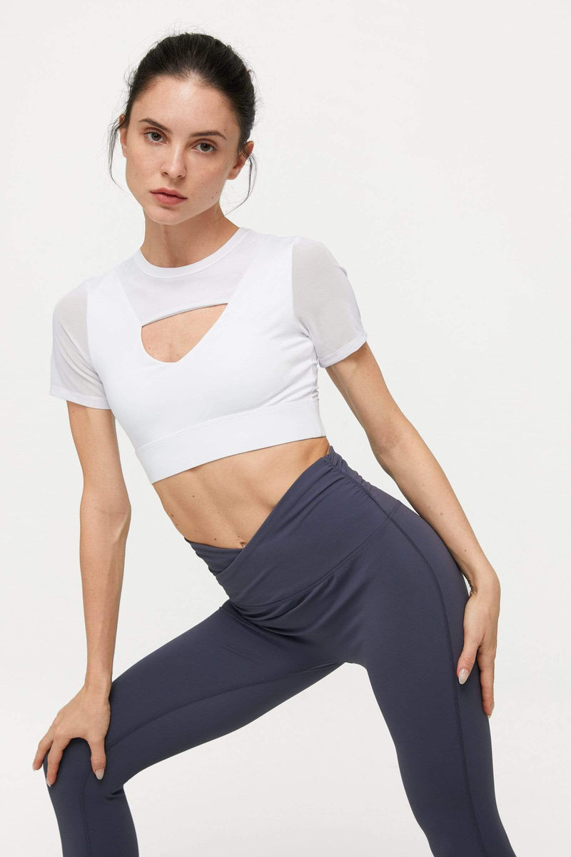 Canyon White Mesh Crop Tee