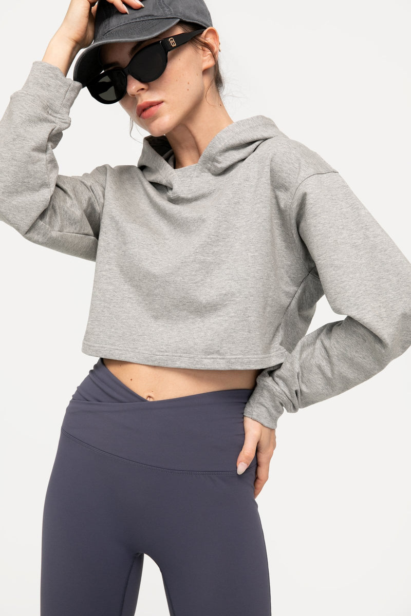 Heather Grey Cropped Hoodie