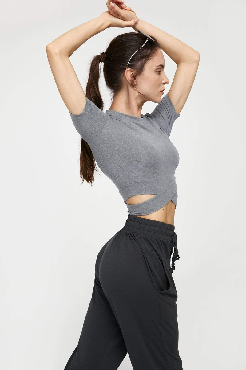Heather Grey Cross Front Performance Crop
