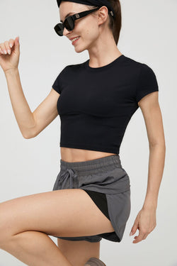 Carbon Black Round Neck Performance Top