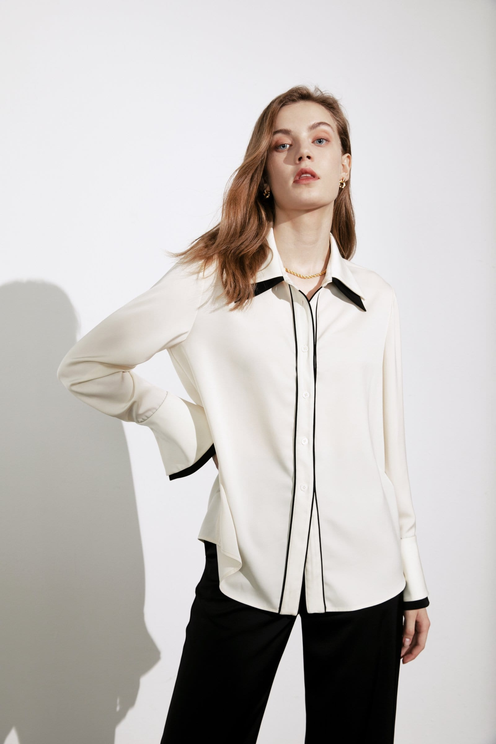 Blair White Contrast Blouse